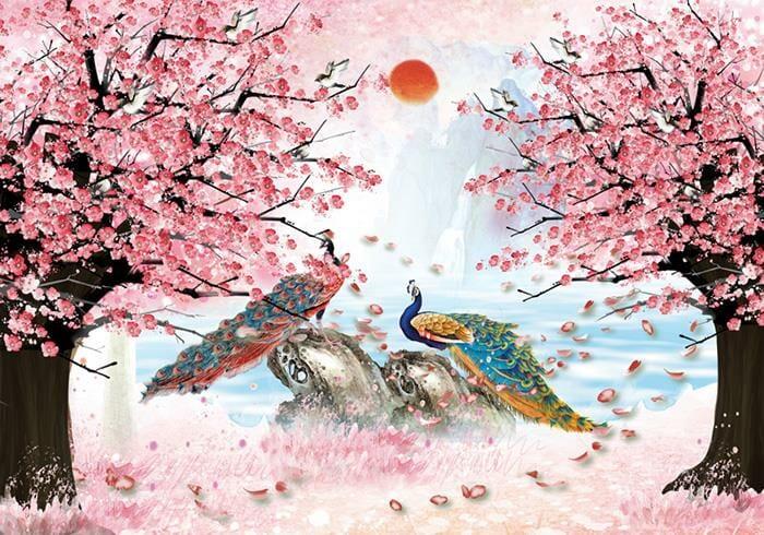 Tranh hoa đào đôi phượng hoàng sơn dầu