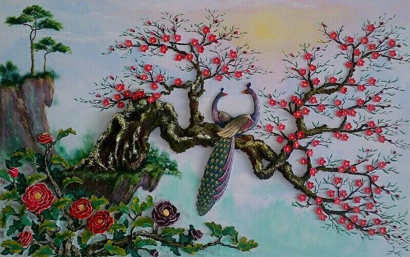 Tranh hoa đào đôi phượng hoàng phù điêu