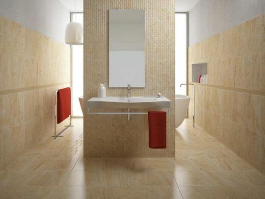 Phòng tắm ốp lát gạch men màu be sáng tạo cảm giác ấm áp, sang trọng.