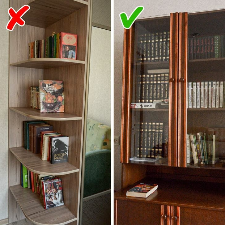 hình ảnh cận cảnh căn phòng có tủ sách mở và tủ sách cửa kính