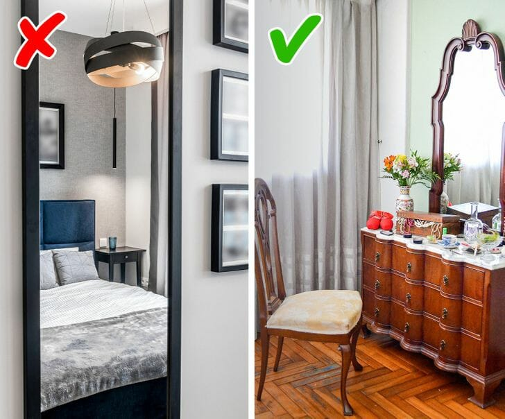 hình ảnh minh họa cho việc đặt gương sai vị trí, đúng vị trí trong phòng ngủ