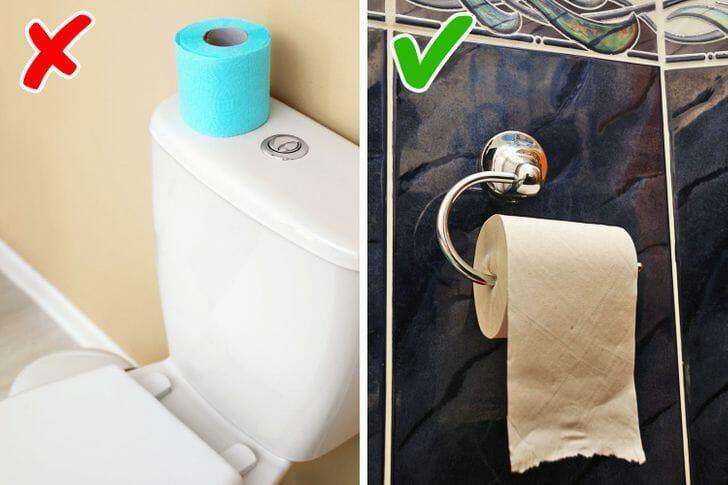 hình ảnh cận cảnh các cuộn giấy vệ sinh trong phòng tắm