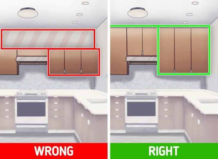hình ảnh minh họa cho việc thiết kế tủ bếp trên của phòng bếp nhỏ