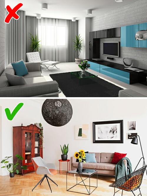 hình ảnh minh họa cho phòng khách đơn điệu một phong cách và phòng khách truyền thống kết hợp các yếu tố hiện đại