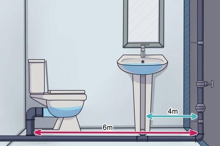 hình ảnh phòng tắm với bồn cầu, bồn rửa đặt ở vị trí phù hợp với đường ống dẫn nước