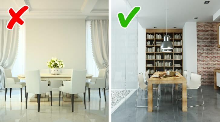 hình ảnh phòng ăn màu trắng chủ đạo và phòng ăn có thêm giá sách, tường gạch trần ấm áp