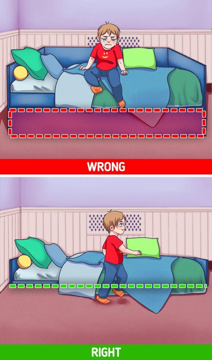 hình ảnh minh họa cho việc thiết kế giường ngủ trẻ em quá cao không phù hợp và giường thấp phù hợp hơn