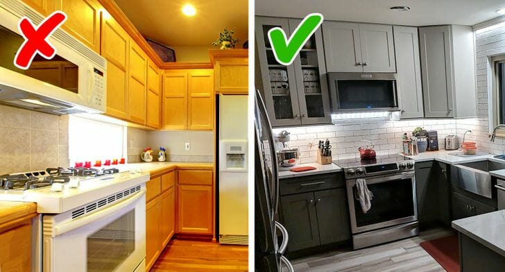 hình ảnh cận cảnh phòng bếp với tủ bếp màu vàng có khoảng trống với trần nhà, phòng bếp màu trung tính với tủ bếp cao kịch trần