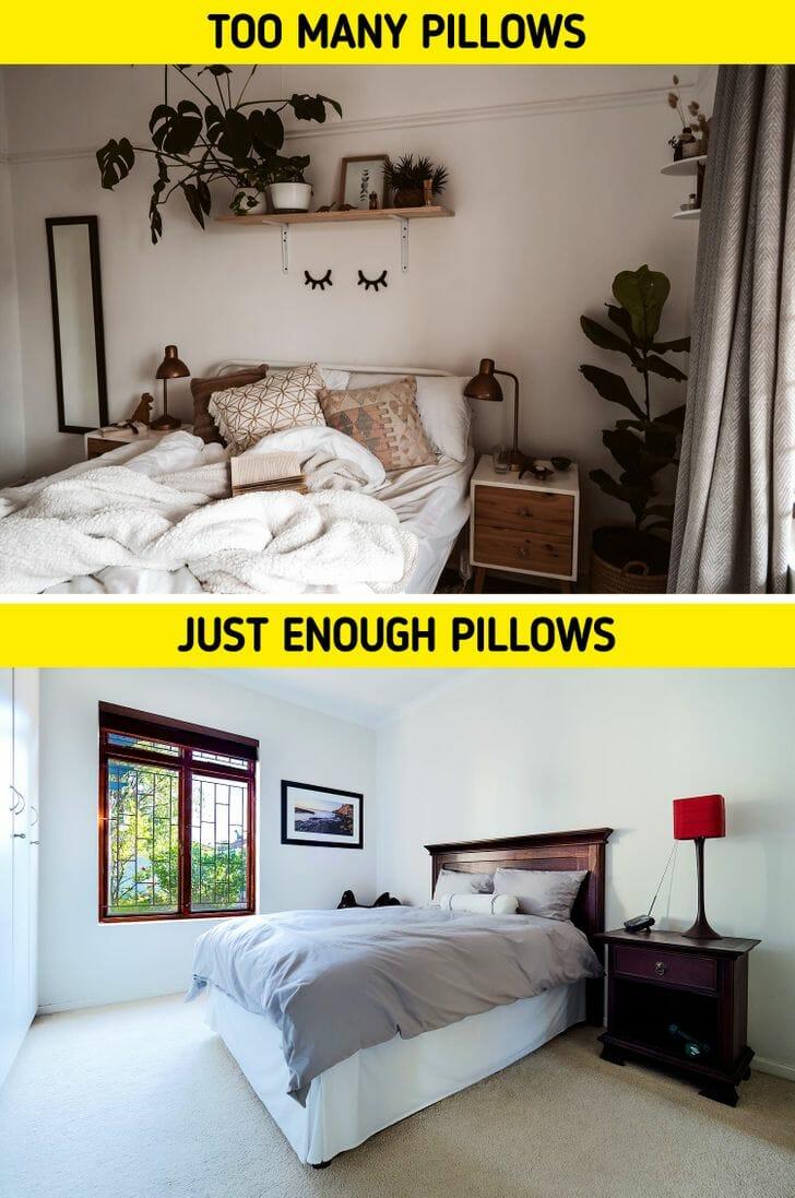 hình ảnh phòng ngủ có quá nhiều gối trên giường