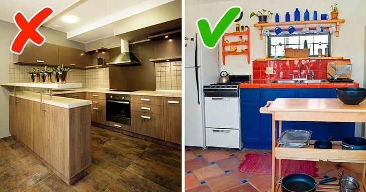 hình ảnh phòng bếp màu gỗ trung tính nhạt nhòa và phòng bếp màu sắc tươi vui