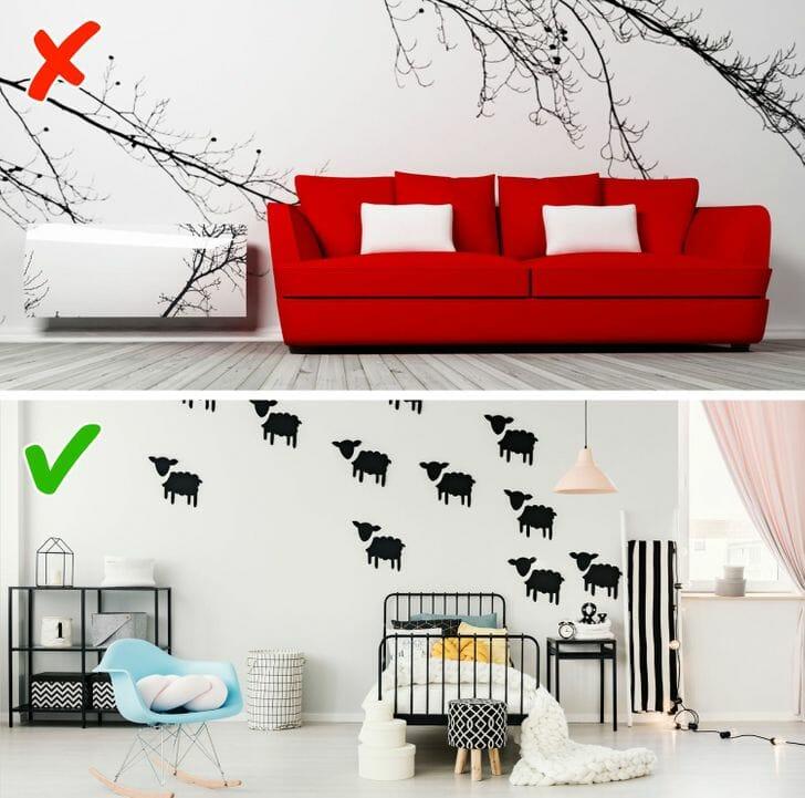 hình ảnh phòng khách và phòng ngủ được trang trí bởi decal dán tường