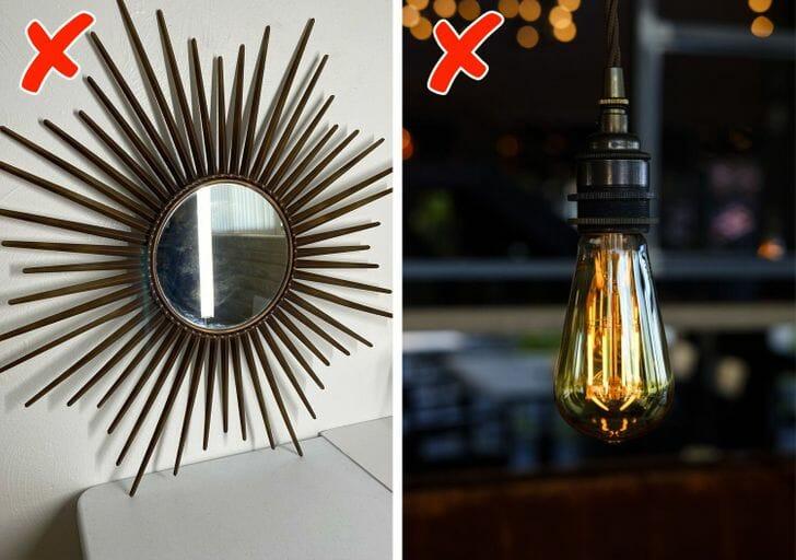 hình ảnh cận cảnh gương mặt trời và bóng đèn Edison