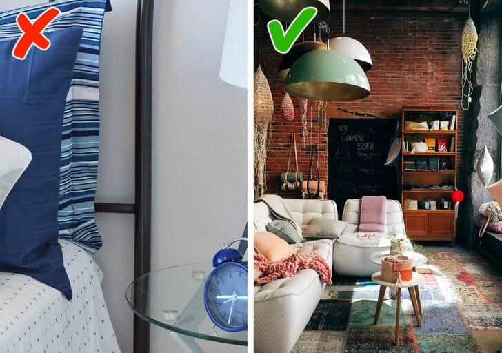 hình ảnh góc phòng ngủ với gối tựa, đèn màu xanh dương, phòng khách nổi bật với sofa trắng, tường gạch trần
