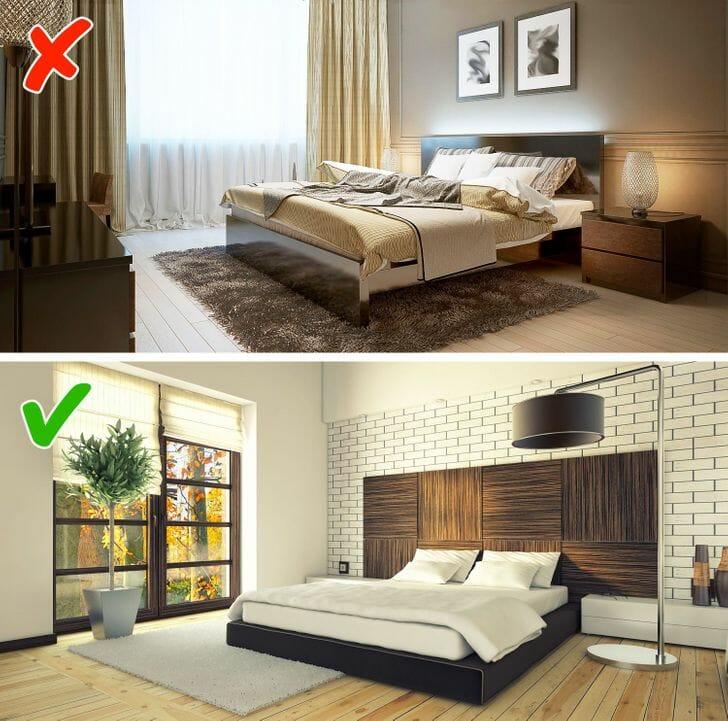 hình ảnh phòng ngủ sử dụng rèm vải hai lớp và rèm gỗ nhẹ nhàng