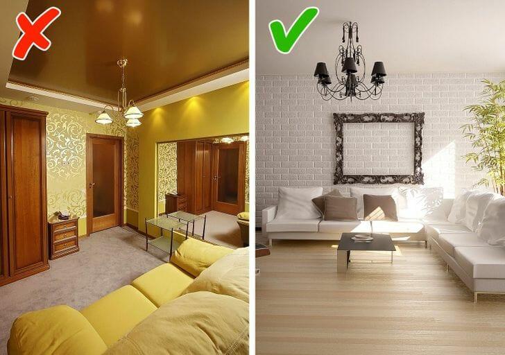 hình ảnh phòng khách màu vàng chủ đạo và phòng khách màu xám - trắng nhẹ nhàng