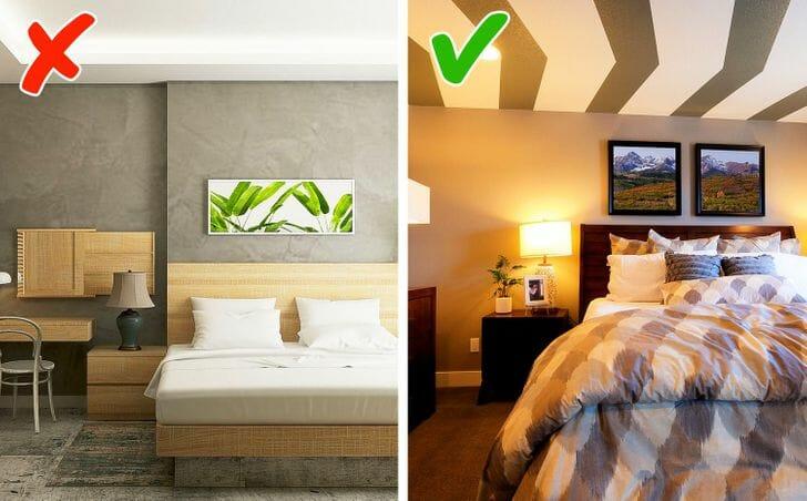 hình ảnh phòng ngủ hiện đại với trần nhà màu trắng sáng, giấy dán kẻ sọc thú vị